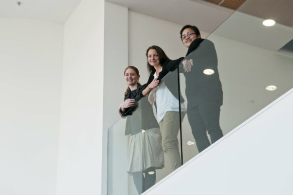 Lucy Hammonds, Curator Design Collections, Georgina White, Curator Social History and Migoto Eria, Curator Taonga Māori look forward to the opening of MTG Hawke's Bay on the 21 September.
