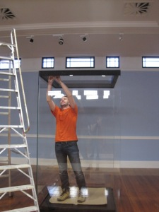 Dieter Coleman assembling a showcase in the Bestall Gallery