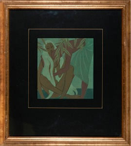 George Wood (1898-1963) A Study of Two Figures Printed in ink on paper Collection of Hawke's Bay Museums Trust, Ruawharo Tā-ū-rangi, 2012/29