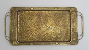 Cedric Storey Repoussé tray Brasswashed copper Collection of Hawke's Bay Museums Trust, Ruawharo Tā-ū-rangi, 2013/25