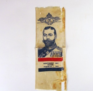 Napier Contingent Day ribbon. Collection of Hawke's Bay Museums Trust, Ruawharo Tā-ū-rangi, [74627]