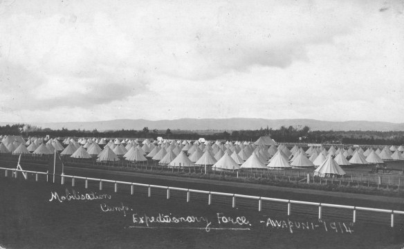 Mobilisation camp, Awapuni, August or September 1914. Collection of Hawke's Bay Museums Trust, Ruawharo Tā-ū-rangi, 3162, gifted by Mrs Florence Le Lievre