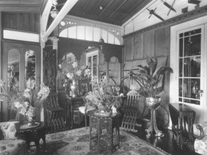 Saloon, Maclean Residence, Napier, showing the bicycle propped up against the back wall. A B Hurst & Son collection of Hawke's Bay Museums Trust, Ruawharo Tā-ū-rangi, 2004/19