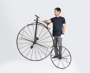 Maclean's bicycle, held by Chad Heays, Design Technician, MTG