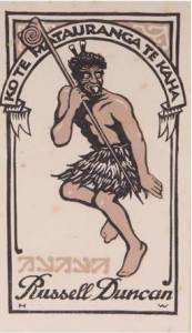 Russell Duncan's personal bookplate, 1897 Ko Te Mātauranga Te Kaha Knowledge is strength linocut designed by Hilda Wiseman (b.1894, d.1982)  warrior from a sketch by Horatio Robley (b.1840, d.1930) collection of the Hawke's Bay Museums Trust, Ruawharo Tā-ū-rangi, m2009/82/1-16