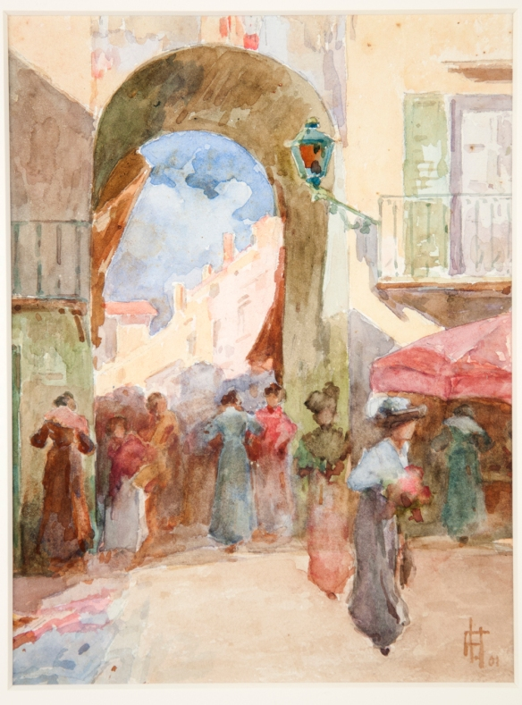 An early Europe Frances Hodgkins painting titled Gateway on the Riviera, 1901