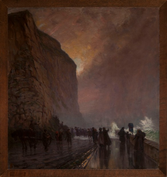 Storm Breaking Over Sea Wall Below Bluff Hill, Napier, c. 1915