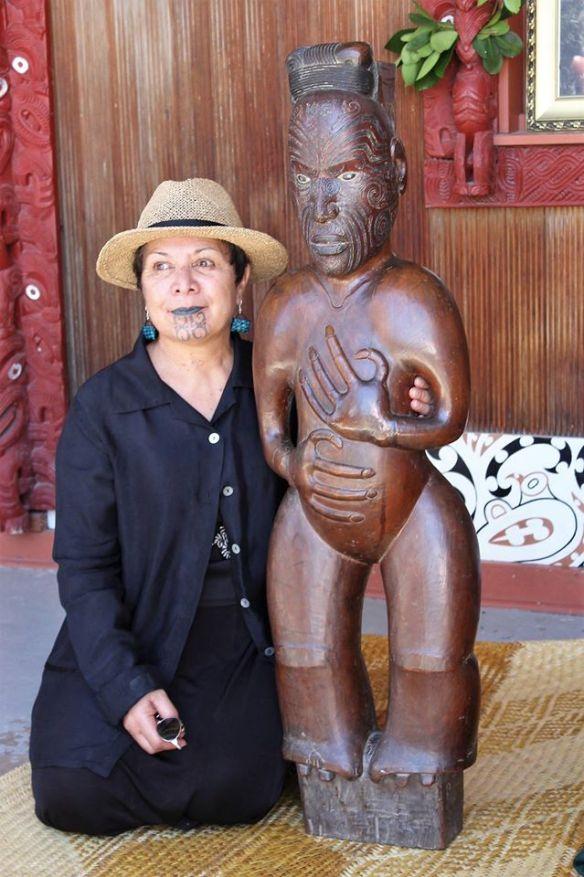 Thelma Karaitiana with Te Waaka Perohuka at Manutuke Marae.  Photo Credit: Pipi Wharauroa