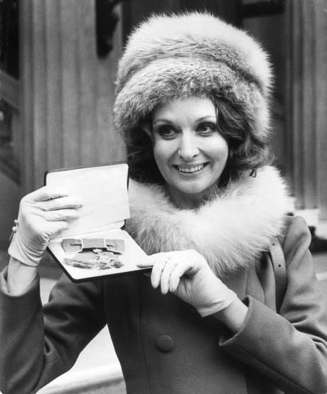 Nyree Dawn Porter with her OBE in 1970