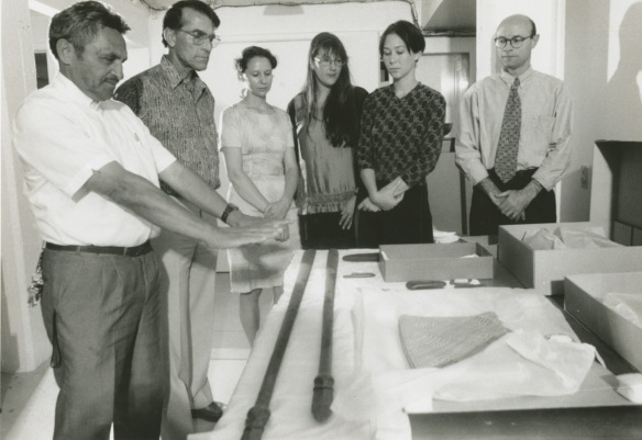 Don Millar (second from left) participating in karakia at the museum